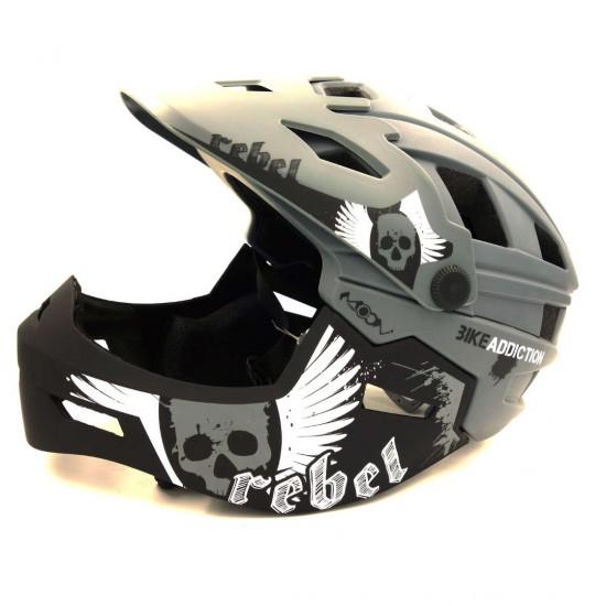 Full Face Detachable Freeride Helmet - Downhillmoun Gray